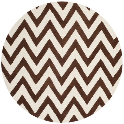 Charlenne Hand-Tufted Dark Brown/Ivory Area Rug Rug Size: Round 6