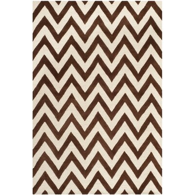 Charlenne Dark Brown/Ivory Area Rug Rug Size: 6 x 9