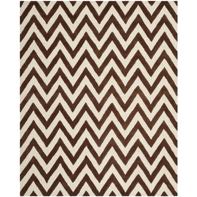 Charlenne Dark Brown/Ivory Area Rug Rug Size: 8 x 10