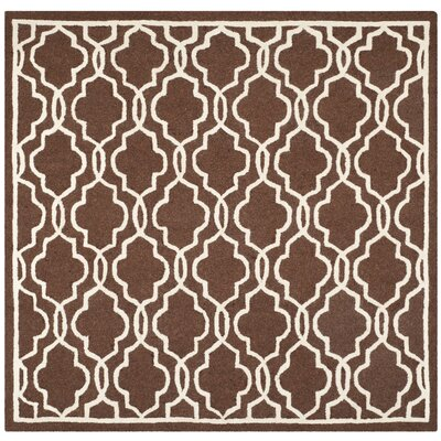Martins Dark Brown/Ivory Area Rug Rug Size: Square 6