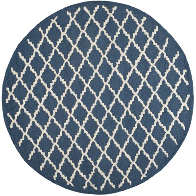Charlenne Wool Navy / Ivory Area Rug Rug Size: Round 6