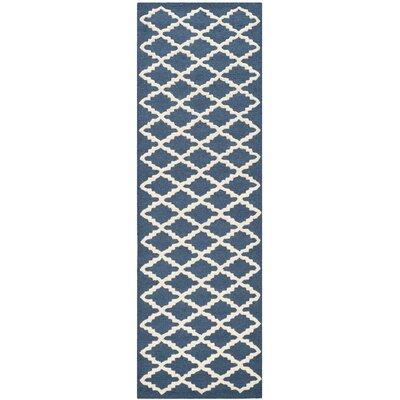 Martins Navy / Ivory Area Rug Rug Size: Runner 26 x 10