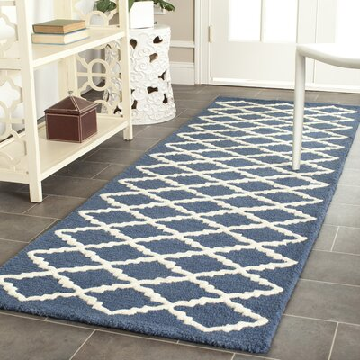 Charlenne Wool Navy / Ivory Area Rug Rug Size: Runner 26 x 12