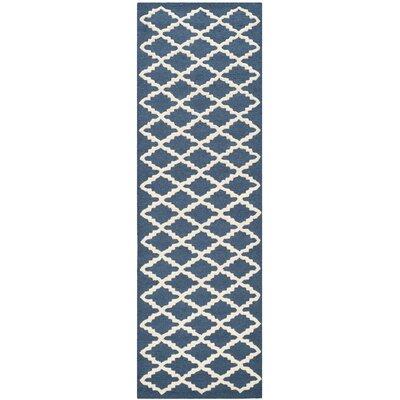 Martins Navy / Ivory Area Rug Rug Size: Runner 26 x 6