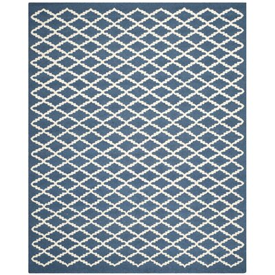 Charlenne Wool Navy / Ivory Area Rug Rug Size: Rectangle 8 x 10
