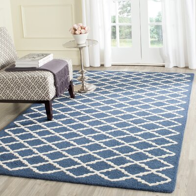 Charlenne Wool Navy / Ivory Area Rug Rug Size: Rectangle 5 x 8