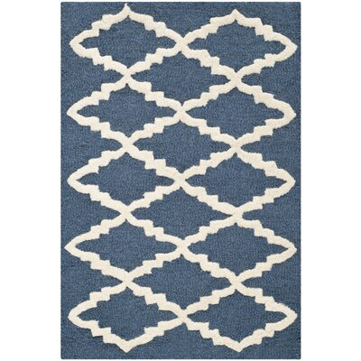 Charlenne Wool Navy / Ivory Area Rug Rug Size: 4 x 6