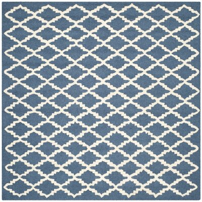 Charlenne Wool Navy / Ivory Area Rug Rug Size: Square 6