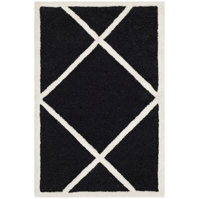 Darla Hand-Tufted Wool Black/White Area Rug Rug Size: Rectangle 2 x 3