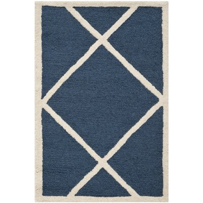 Martins Navy / Ivory Area Rug Rug Size: Rectangle 5 x 8