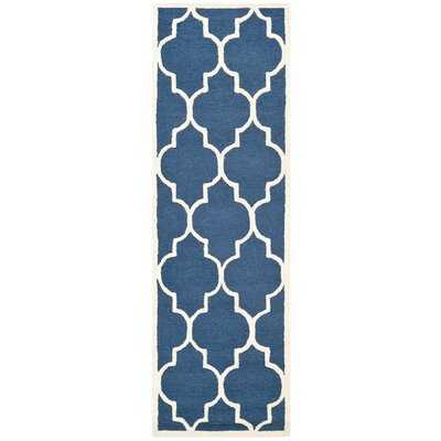 Charlenne Hand-Tufted Navy Area Rug Rug Size: Runner 26 x 20