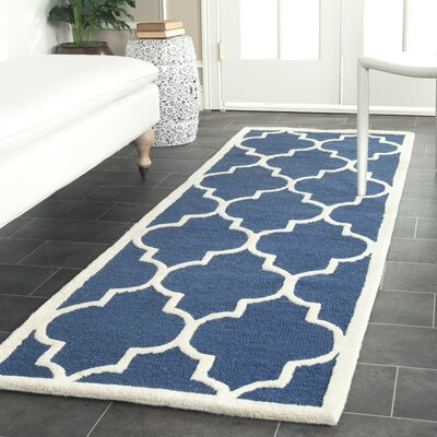 Charlenne Hand-Tufted Navy Area Rug Rug Size: Runner 26 x 16