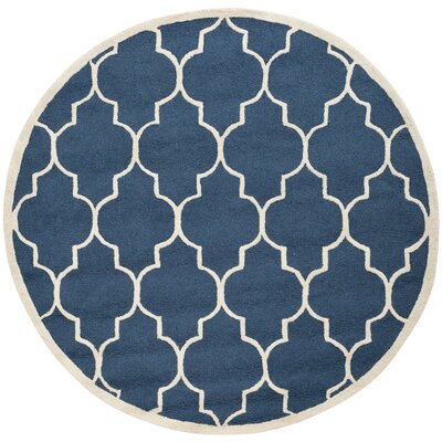 Charlenne Hand-Tufted Navy Area Rug Rug Size: Round 8
