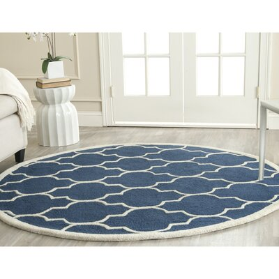 Charlenne Hand-Tufted Navy Area Rug Rug Size: Round 6