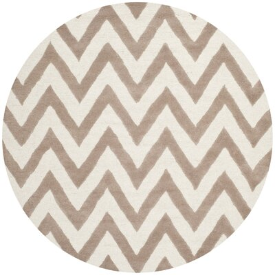 Charlenne Hand-Tufted Wool Beige/Brown Area Rug Rug Size: Round 6'