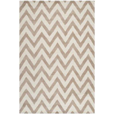 Charlenne Wool Beige/Ivory Area Rug Rug Size: 3 x 5