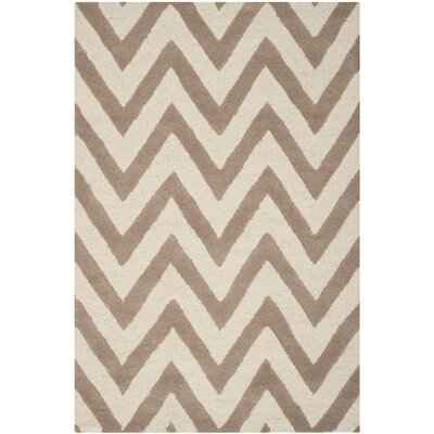 Charlenne Hand-Tufted Wool Beige/Brown Area Rug Rug Size: Square 6