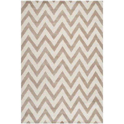Charlenne Wool Beige/Ivory Area Rug Rug Size: 5 x 8
