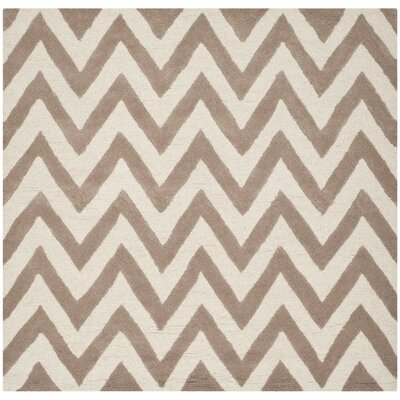 Charlenne Wool Beige/Ivory Area Rug Rug Size: Square 6