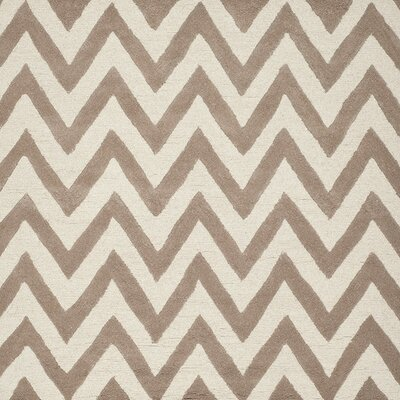 Charlenne Hand-Tufted Wool Beige/Brown Area Rug Rug Size: Square 8'