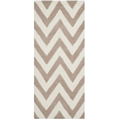 Charlenne Hand-Tufted Wool Beige/Brown Area Rug Rug Size: Runner 26 x 6