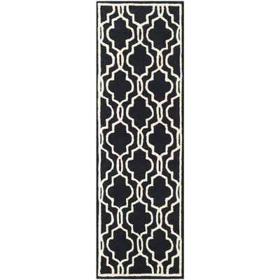 Martins Hand-Tufted Wool Black Area Rug Rug Size: Runner 26 x 6