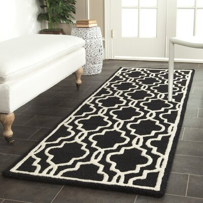 Martins Hand-Tufted Wool Black Area Rug Rug Size: Runner 2'6