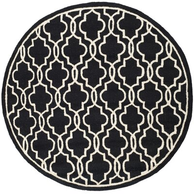 Martins Hand-Tufted Wool Black Area Rug Rug Size: Round 6