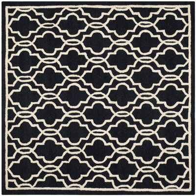 Martins Hand-Tufted Wool Black Area Rug Rug Size: Square 6