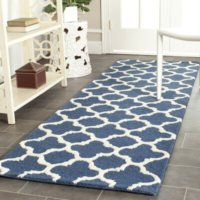 Martins Hand-Tufted Navy Area Rug Rug Size: Runner 26 x 8