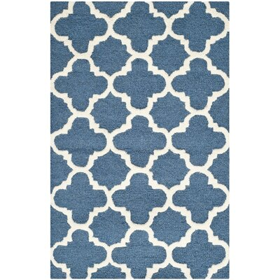 Martins Navy / Ivory Area Rug Rug Size: 6 x 9