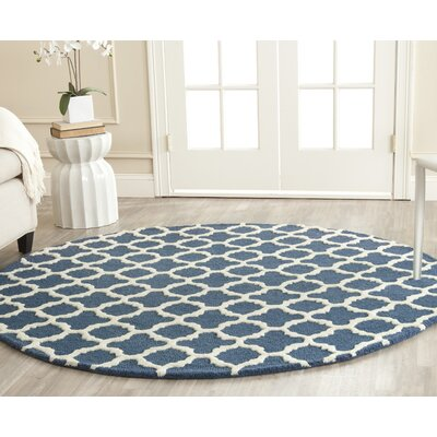 Martins Hand-Tufted Navy Area Rug Rug Size: Round 6