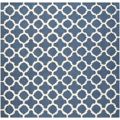 Martins Hand-Tufted Wool Blue Area Rug Rug Size: Square 6