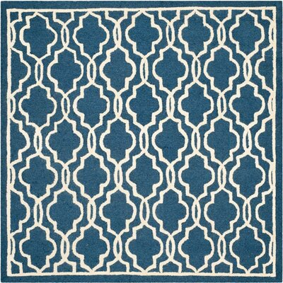 Martins Navy / Ivory Area Rug Rug Size: Square 6