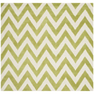Charlenne Hand-Tufted Green/Ivory Area Rug Rug Size: Square 6