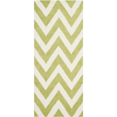 Charlenne Hand-Tufted Green/Ivory Area Rug Rug Size: Runner 26 x 10