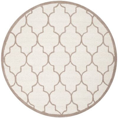 Charlenne Hand-Tufted Ivory/Beige Area Rug Rug Size: Round 6