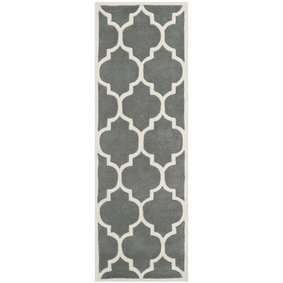 Wilkin Hand-Tufted Dark Gray/Ivory Area Rug Rug Size: Runner 23 x 7