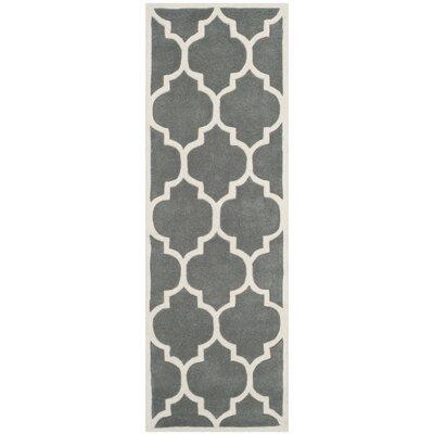 Wilkin Dark Grey & Ivory Moroccan Area Rug Rug Size: Runner 23 x 9