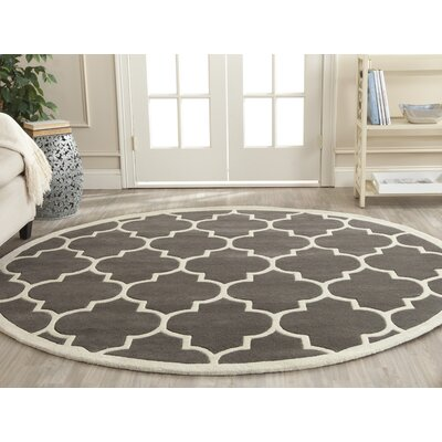 Wilkin H-Tufted Dark Gray Area Rug Rug Size: Round 9