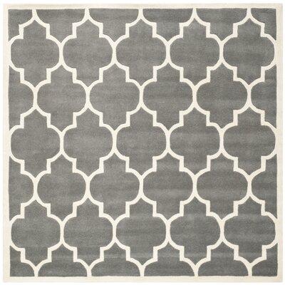 Wilkin Dark Grey & Ivory Moroccan Area Rug Rug Size: Square 89