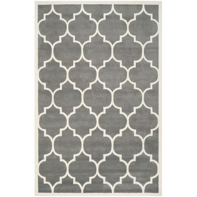 Wilkin Dark Grey & Ivory Moroccan Area Rug Rug Size: 10 x 14