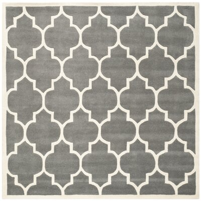 Wilkin Dark Grey & Ivory Moroccan Area Rug Rug Size: Square 5