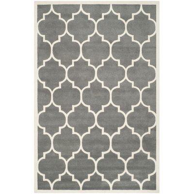 Wilkin Dark Grey & Ivory Moroccan Area Rug Rug Size: 76 x 96