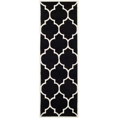 Wilkin Hand-Tufted Black/Ivory Area Rug Rug Size: Runner 23 x 7