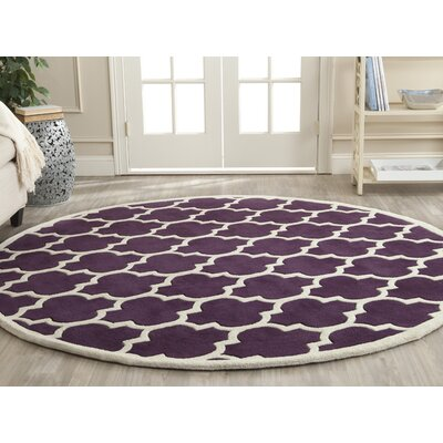 Wilkin Purple/Ivory Moroccan Area Rug Rug Size: Round 7'