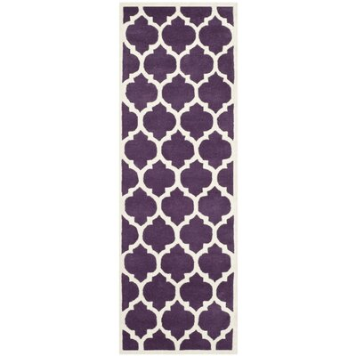 Wilkin Purple/Ivory Moroccan Area Rug Rug Size: Runner 23 x 9