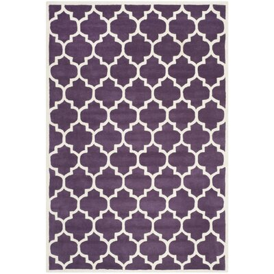 Wilkin Purple/Ivory Moroccan Area Rug Rug Size: 5 x 8