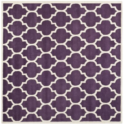 Wilkin Purple/Ivory Moroccan Area Rug Rug Size: Square 7