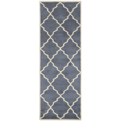 Wilkin Tufted Wool Gray/Ivory Area Rug Rug Size: Runner 23 x 7